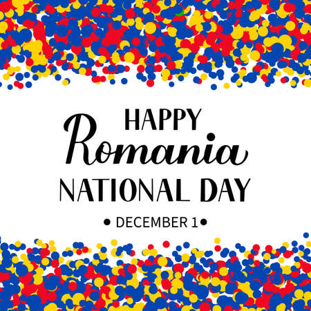 Romania National Day lettering. Romanian holiday also called Unification or Great Unity Day celebration on December 1. Vector template for banner, typography poster, flyer, etc. 일러스트