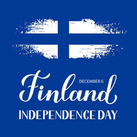 Finland Independence Day calligraphy hand lettering. Finnish holiday celebrate on December 6. Easy to edit vector template for banner, typography poster, flyer, sticker, greeting card, postcard, etc