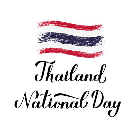 Thailand National Day calligraphy hand lettering isolated on white. Vector template for banner, typography poster, flyer, greeting, card, postcard, sign, etc