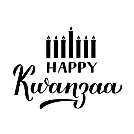 Happy Kwanzaa calligraphy hand lettering isolated on white. African American holiday. Vector template for typography poster, banner, greeting card, postcard, flyer, sticker, etc. Ilustração