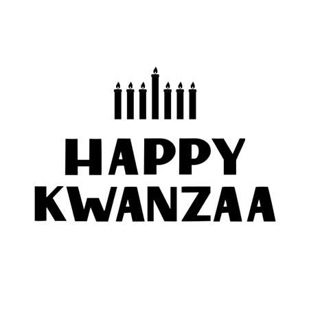 Happy Kwanzaa hand lettering with candles isolated on white. African American holiday. Vector template for typography poster, banner, greeting card, postcard, flyer, sticker, etc.