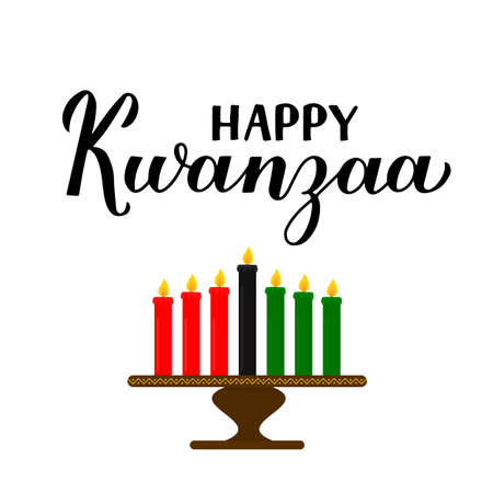 Happy Kwanzaa calligraphy hand lettering isolated on white. African American holiday. Vector template for typography poster, banner, greeting card, postcard, sticker, flyer, etc. Ilustração