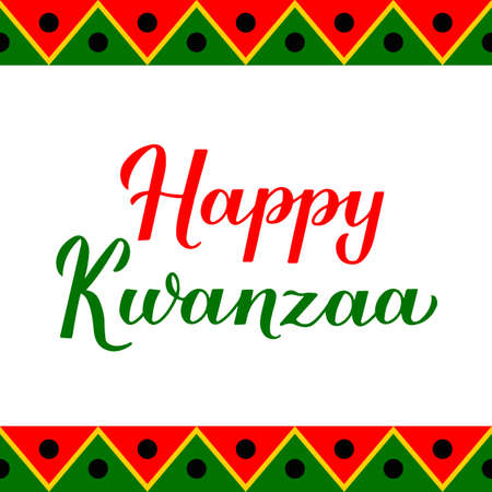 Happy Kwanzaa calligraphy hand lettering isolated on ornament background. African American holiday. Vector template for typography poster, banner, greeting card, postcard, flyer, sticker, etc. Ilustração