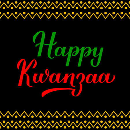 Happy Kwanzaa calligraphy hand lettering isolated on ornament background. African American holiday. Vector template for typography poster, banner, greeting card, postcard, flyer, etc.