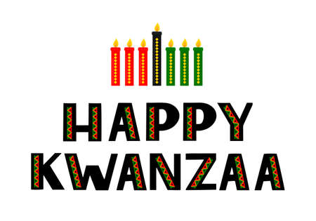 Happy Kwanzaa hand lettering with candles isolated on white. African American holiday. Vector template for greeting card, typography poster, banner, postcard, flyer, sticker, etc.