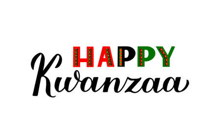 Happy Kwanzaa calligraphy hand lettering isolated on white. African American holiday. Vector template for typography poster, greeting card, banner, postcard, flyer, sticker, etc.