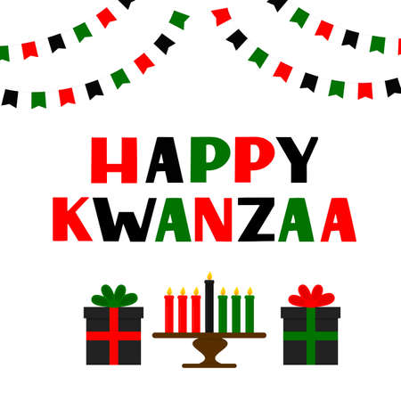 Happy Kwanzaa hand lettering with flags, candles and gift boxes. African American holiday. Vector template for typography poster, banner, greeting card, postcard, sticker, flyer, etc. Ilustração