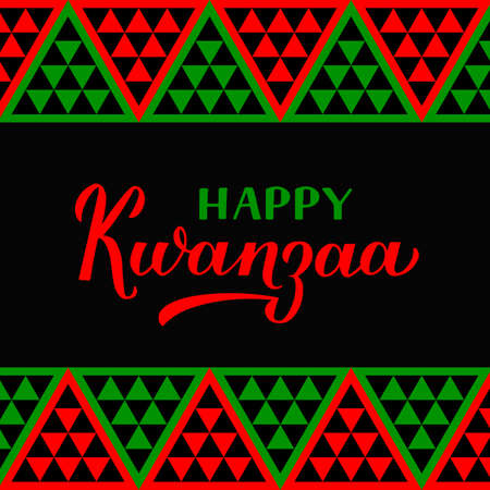 Happy Kwanzaa calligraphy hand lettering isolated on ornament background. African American holiday. Vector template for greeting card, typography poster, banner, postcard, flyer, etc.