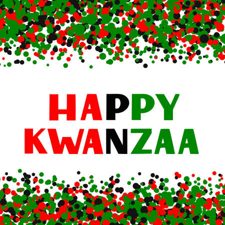 Happy Kwanzaa hand lettering on red, green, black dots confetti background. African American holiday. Vector template for typography poster, banner, greeting card, postcard, sticker, flyer, etc. Ilustração