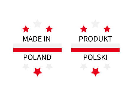 Made in Poland labels in English and in Polish languages. Quality mark vector icon. Perfect for logo design, tags, badges, stickers, emblem, product package, etc.