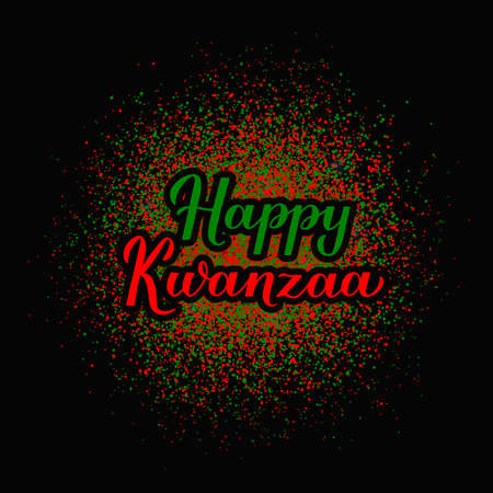 Happy Kwanzaa calligraphy lettering on red and green dots confetti background. African American holiday. Vector template for typography poster, banner, greeting card, postcard, sticker, flyer, etc. Ilustração