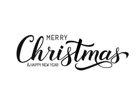 Merry Christmas and Happy New Year calligraphy hand lettering isolated on white. Celebration quote hand written with brush. Holidays typography poster. Vector template for banner, greeting card etc.