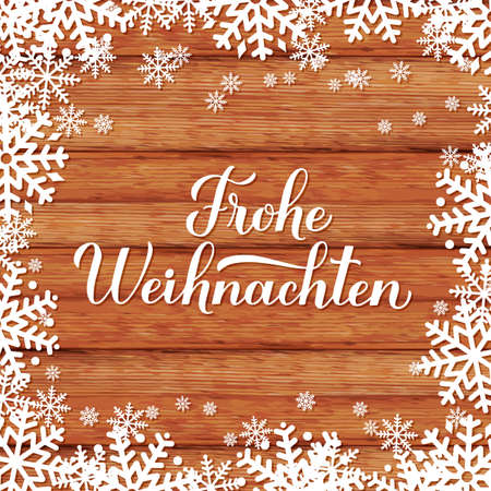 Frohe Weihnachten calligraphy hand lettering on wood background with snowflakes. Merry Christmas typography poster in German. Vector template for greeting card, banner, flyer, sticker, etc. Ilustração