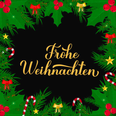 Frohe Weihnachten calligraphy hand lettering with fir tree branches. Merry Christmas typography poster in German. Easy to edit vector template for greeting card, banner, flyer, etc.