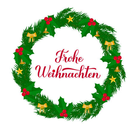 Frohe Weihnachten calligraphy hand lettering with wreath of fir tree branches. Merry Christmas typography poster in German. Easy to edit vector template for greeting card, banner, flyer, sticker, etc.