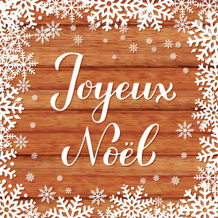 Joyeux Noel calligraphy hand lettering on wood background with snowflakes. Merry Christmas typography poster in French. Easy to edit vector template for greeting card, banner, flyer, sticker, etc.