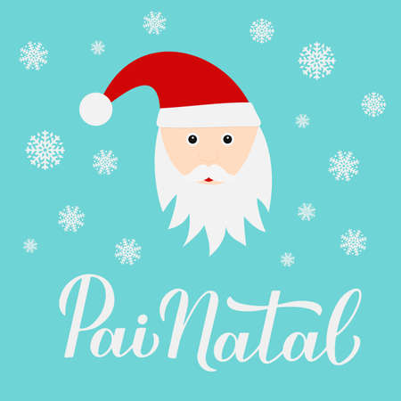 Pai Natal calligraphy hand lettering with cute cartoon character. Santa Claus in Portuguese typography poster. Vector template for greeting card, banner, flyer, etc.