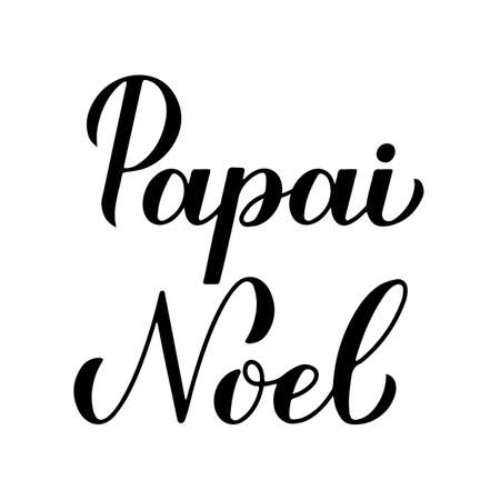 Papai Noel calligraphy hand lettering isolated on white. Santa Claus in Brazilian Portuguese typography poster. Easy to edit vector template for greeting card, banner, flyer, sticker, etc. Ilustração