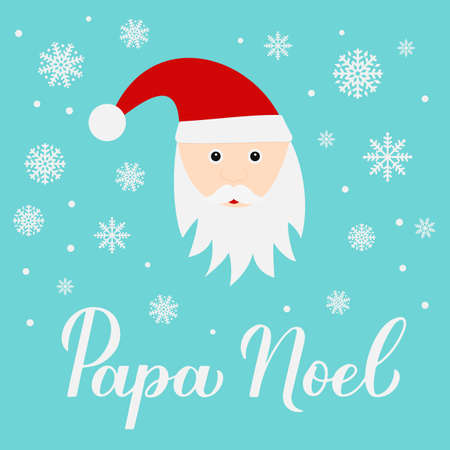 Papa Noel calligraphy hand lettering with cute cartoon character. Santa Claus in Spanish typography poster. Easy to edit vector template for greeting card, banner, flyer, sticker, etc. Ilustração