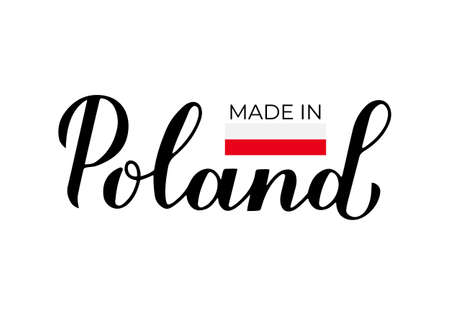 Made in Poland handwritten label. Calligraphy hand lettering. Quality mark vector icon. Perfect for logo design, tags, badges, stickers, emblem, product package, etc.