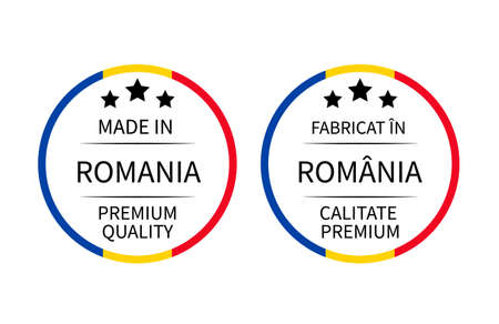 Made in Romania round labels in English and in Romanian languages. Quality mark vector icon. Perfect for logo design, tags, badges, stickers, emblem, product package, etc.