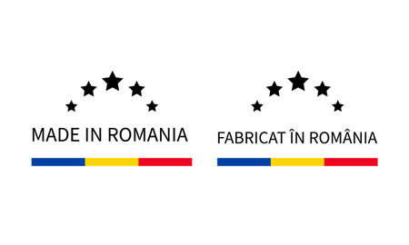 Made in Romania labels in English and in Romanian languages. Quality mark vector icon. Perfect for logo design, tags, badges, stickers, emblem, product package, etc.