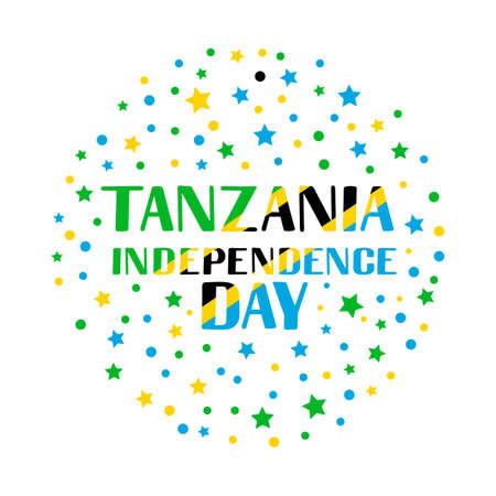Tanzania Independence Day lettering with stars and dots. National holiday celebrated on December 9. Vector template for typography poster, banner, greeting card, flyer, etc.