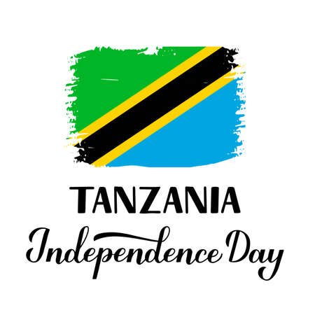 Tanzania Independence Day calligraphy hand lettering with Tanzanian flag. National holiday celebrated on December 9. Vector template for typography poster, banner, greeting card, flyer, etc. Ilustração