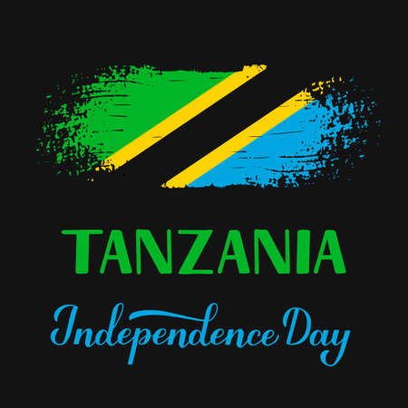 Tanzania Independence Day calligraphy hand lettering with brush stroke Tanzanian flag. National holiday celebrated on December 9. Vector template for typography poster, banner, greeting card, flyer.