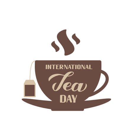 International Tea Day hand lettering on cup of tea. Annual holiday on December 15. Easy to edit vector template for banner, typography poster, flyer, sticker, card, t-shirt, etc. Ilustração