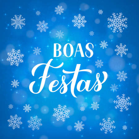Boas Festas calligraphy isolated on blue background with bokeh and snowflakes. Happy Holidays lettering in Portuguese. Christmas typography poster. Vector template for greeting card, banner, flyer. Ilustração