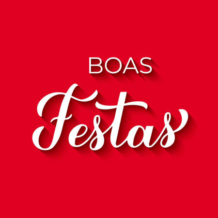Boas Festas calligraphy on red background. Happy Holidays hand lettering in Portuguese. Christmas and New Year typography poster. Vector template for greeting card, banner, flyer, etc.