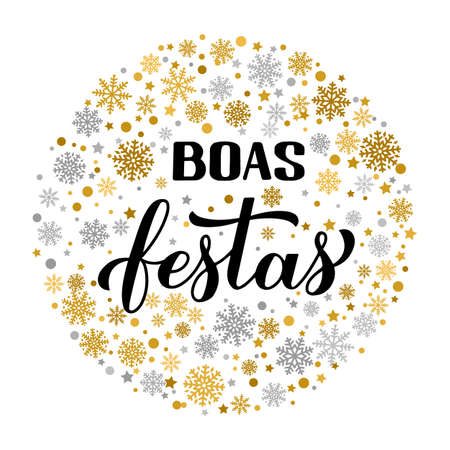 Boas Festas calligraphy with gold and silver snowflakes. Happy Holidays hand lettering in Portuguese. Christmas typography poster. Vector template for greeting card, banner, flyer, sticker, etc.
