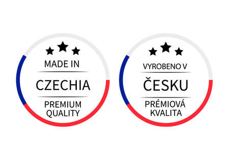 Made in Czechia round labels in English and in Czech languages. Quality mark vector icon. Perfect for logo design, tags, badges, stickers, emblem, product package, etc. Ilustração