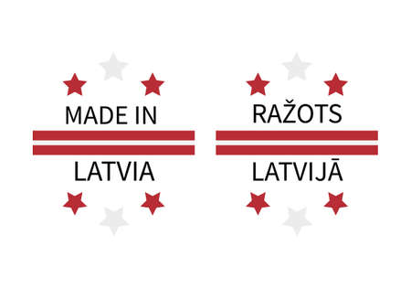 Made in Latvia labels in English and in Latvian languages. Quality mark vector icon. Perfect for logo design, tags, badges, stickers, emblem, product package, etc. Ilustração