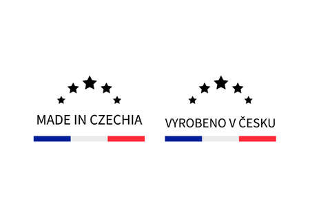 Made in Czechia labels in English and in Czech languages. Quality mark vector icon. Perfect for logo design, tags, badges, stickers, emblem, product package, etc. Ilustração