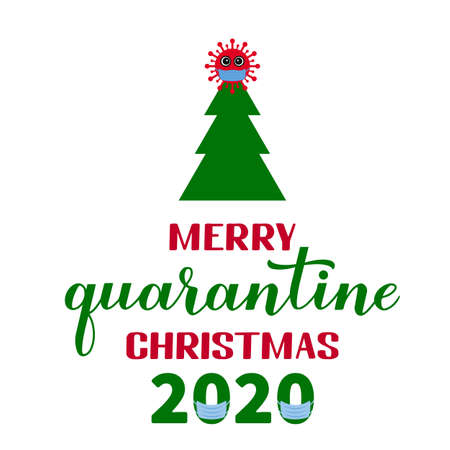 Merry Quarantine Christmas lettering with cute cartoon virus wearing mask. Winter holidays in coronavirus COVID-19 pandemic. Vector template for typography poster, banner, greeting card. etc.