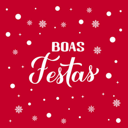 Boas Festas calligraphy on red background with snow. Happy Holidays hand lettering in Portuguese. Christmas and New Year typography poster. Vector template for greeting card, banner, flyer, etc.