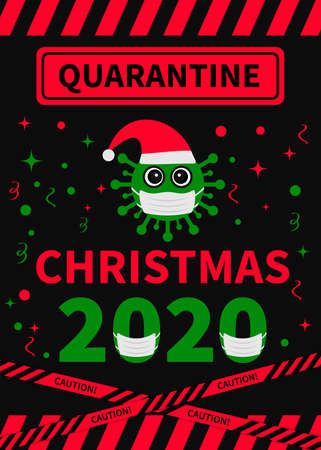 Quarantine Christmas lettering with cute cartoon virus wearing mask. Winter holidays in coronavirus COVID-19 pandemic. Vector template for typography poster, banner, greeting card. etc. Ilustração