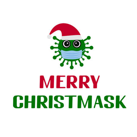 Quarantine Christmas. Merry Christmask lettering with cute cartoon virus wearing mask. Winter holidays in coronavirus COVID-19 pandemic. Vector template for typography poster, banner, greeting card.