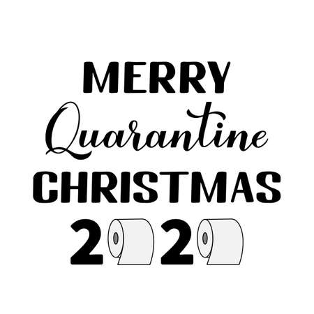 Merry Quarantine Christmas lettering with toilet paper. Winter holidays in coronavirus COVID-19 pandemic. Vector template for typography poster, banner, greeting card. etc.