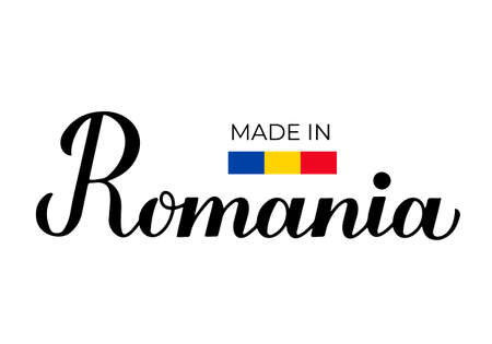 Made in Romania handwritten label. Calligraphy hand lettering. Quality mark vector icon. Perfect for logo design, tags, badges, stickers, emblem, product package, etc.