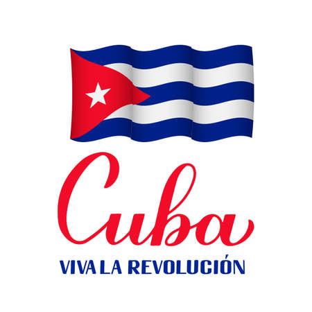 Cuba Revolution calligraphy hand lettering in Spanish. Cuban holiday celebrated on January 1. Vector template for typography poster, banner, greeting card, flyer, etc.