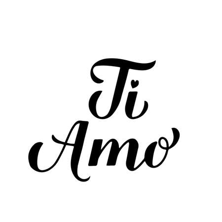 Ti Amo calligraphy hand lettering. I Love You inscription in Italian. Valentines day typography poster. Vector template for banner, postcard, greeting card, t-shirt, logo design, flyer, sticker, etc.