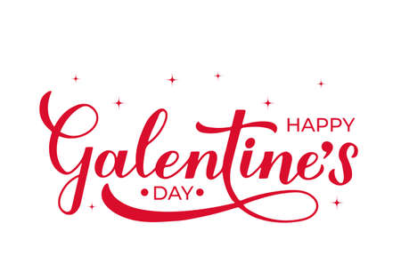 Happy Galentine s Day calligraphy lettering isolated on white. Non official holiday for girls. Vector template for greeting card poster, postcard, flyer, banner, sticker, t shirt, etc.