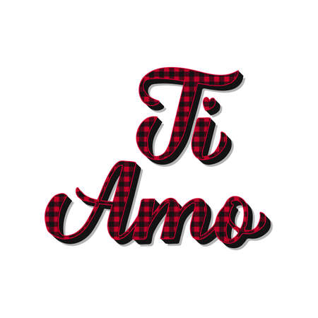 Ti Amo calligraphy hand lettering. Red buffalo pattern. I Love You in Italian. Valentines day typography poster. Vector template for banner, postcard, greeting card, t shirt, flyer, sticker, etc.