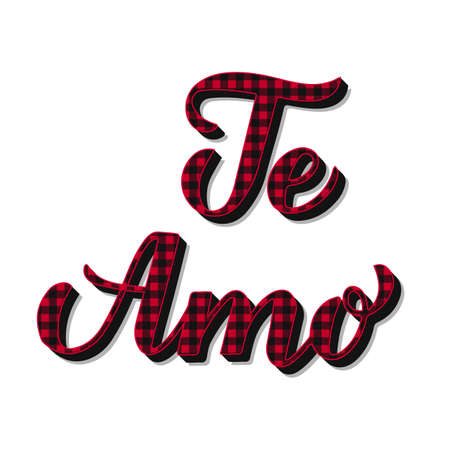 Te Amo calligraphy hand lettering. Red buffalo pattern. I Love You inscription in Spanish. Vector template for Valentines day poster, banner, postcard, greeting card, flyer, t shirt, sticker, etc. Ilustração