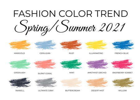 Fashion Color Trends Spring Summer 2021. Trendy colors palette guide. Brush strokes of paint color with names swatches. Easy to edit vector template for your creative designs Illusztráció
