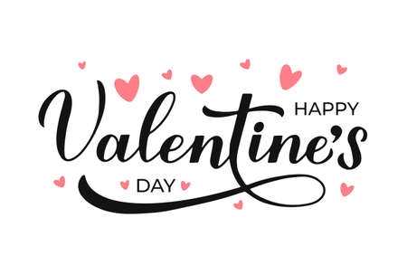 Happy Valentines Day calligraphy lettering isolated on white. Handwritten Valentine s card. Easy to edit vector template for poster, postcard, logo design, flyer, banner, sticker, t shirt, etc.