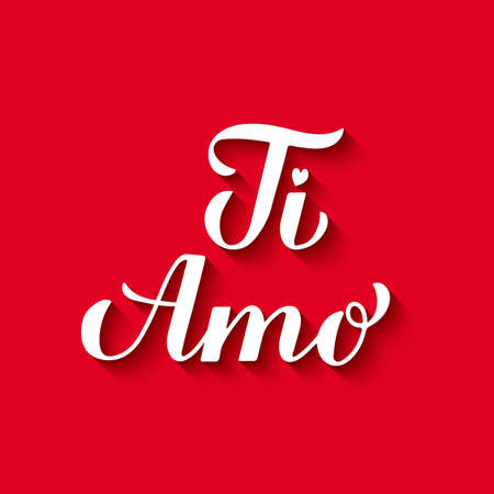 Ti Amo calligraphy hand lettering on red background. I Love You in Italian. Valentines day typography poster. Vector template for banner, postcard, greeting card, t-shirt, logo design, flyer, etc.